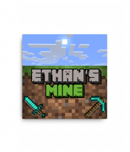 Minecraft - Personalised Mine / Room Bedroom Canvas Sign